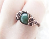 Mossy Agate Ring, Elvish Forest Ring, Unique Wire Wrapped Copper Ring, Woodland Ring