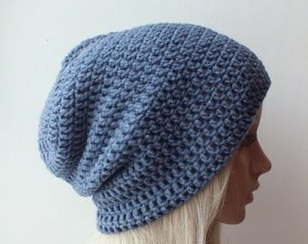 Mens slouchy jeans blue beanie , womans mens or unisex