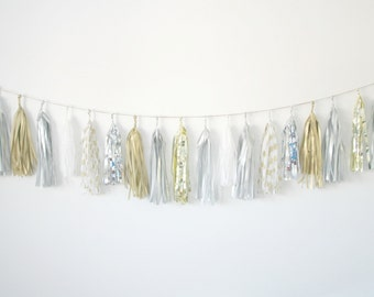 Gold and Silver Metallic Sparkle Tassel Garland ... New Years Eve Party Banner . Wedding Ceremony Decor . Bridal Shower Decorations.