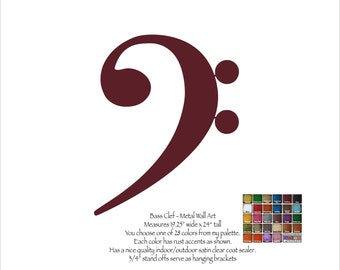 """Bass Clef metal wall art - 24"""" tall - choose your patina color - Musical notes art music symbol F-clef keyboard octave instrument music note"""