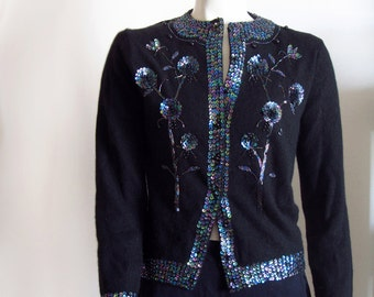 vintage 80s cardigan sweater black sequins beaded  small