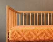 Modern Geometric crib sheet- Orange white- Diamond pattern- gender neutral - nursery fitted sheet- toddler bed sheet - Changing pad cover