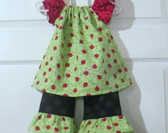 Little Miss Lady Bug - Girls Peasant top and Ruffle pants set - Ready to ship - 9 12 Months