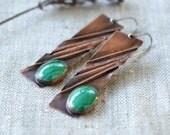 Long copper earrings - handmade artisan jewelry - copper sterling silver malachite earrings - brown green OOAK by Alery