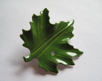 1 Green Enamel Leaf Brooch