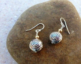 12mm Thai Silver Earrings  with 4mm Gold Fill Ball