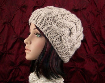 Hand knit cabled hat - Linen color - Fall Fashion Winter Fashion Winter Accessories - Gift for her - Sandy Coastal Design - ready to ship