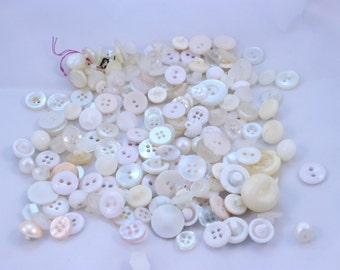 Lot of Lovely White Small Buttons Over 180 Pieces