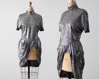 1980s metallic silver peplum top, vintage slinky dress layer