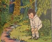 Orig 1930s Children's Bookplate Illustration, Outdoor Scene, MORE in shop Some Color, Blk White, ART DECO Vibe, Frame Decoupage Room Nursery