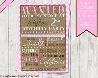 Vintage Cowgirl - A Customizable Birthday Invitation - Cowgirl Party - Western Party - Pink and Brown - Burlap and Lace - Pink Gingham