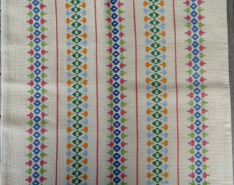 Vintage Danish pillow case / cross stitched / 60s