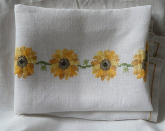 Vintage Danish table cloth / cross stitched flowers / 60s