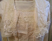 Romantic Cotton Blouse, thin lacey top refashioned shabby and chic, vintage victorian style, french cottage Small