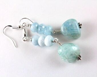 Aquamarine Earrings, March Birthstone Earrings, Aquamarine and Sterling Silver