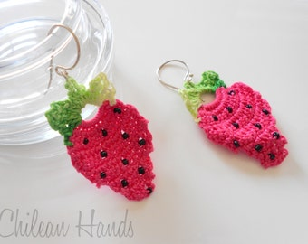 Strawberry crocheted earrings with seed beads