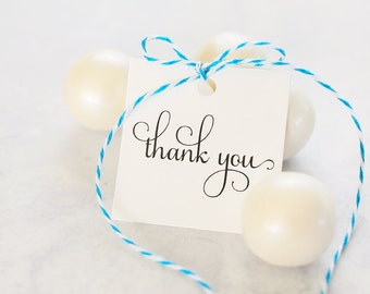 100 Thank You Tags, Square Gift Tags, Favor Tags, Bridal Shower Gift Wrap, Wedding Favor Packaging - Bulk Tags (SQRT-TY-RTS)