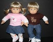 "Baby Twin 15"" Doll Girl and Boy Dog Long Sleeve Tee Set"