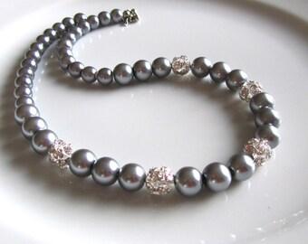 Grey  pearl necklace, Wedding jewelry,  Wedding Necklace, Bridesmaid gift, Pearl Necklace, Wedding Favor, Brdal necklace
