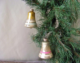 Vintage Christmas Ornaments Silver and Gold Bell Shaped Ornaments Shiny Brite Christmas Tree Glass Ornaments Vintage 1950s