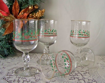 Vintage Libbey Holiday Juice Glasses Wine Goblets Holly Berry Green Holly Leaves Red Ribbons Red Berries Holiday Glassware Set of Four 1980s