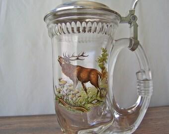 Vintage Beer Stein Glass Beer Mug Elk Image Cornucopia Shape Glass Mug Pewter Lid Man Cave Gift for Dad Vintage 1990s