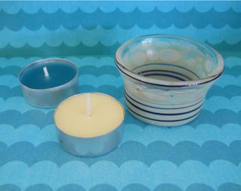 Blown Glass Candle Holder & 2 Candles