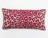 ON SALE Schumacher Iconic Leopard Pillow with self welting both sides (in Fuchsia/Natural - 12 X 24)