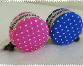 4.5cm/ Macaroon Coin Purse/ Jewlery Case/ Polka Dots