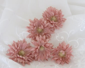 Dusty Pink Flowers Five Flower Heads Weddings Hair Accessories