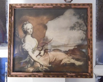 Antique Vintage Framed Print of Woman Lounging