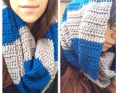 Crochet Cowl / Bulky Striped Cowl / Blue Grey Cowl / Handmade Crochet Cowl / Infinity Scarf Scrunchy Cowl Ready to Ship