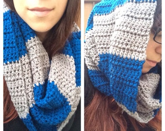 Crochet Cowl / Bulky Striped Cowl / Blue Grey Cowl / Handmade Crochet Cowl / Infinity Scarf Scrunchy Cowl Ready to Ship