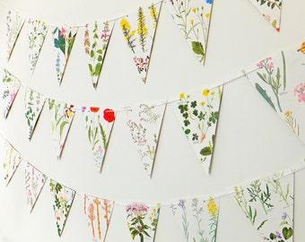 Wild Flower Bunting, Botanical Wedding decor, Wedding Garland,  Floral Garland, eco-friendly banner, paper bunting, wedding pennants