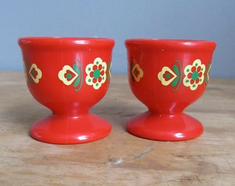 Vintage Mid Century Emsa Egg Cups Red Floral Plastic Made in West Germany Brunch Fruehstueck