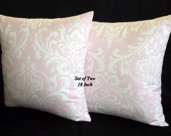 Decorative Pillows, Accent Pillows,Throw Pillows, Pillow Covers -  Pale Pink and White -  Set of two 18 Inch