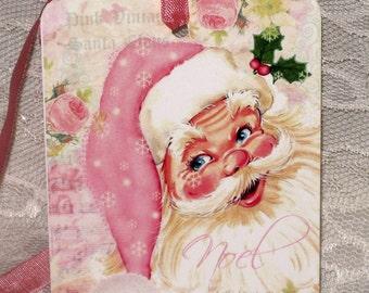 Vintage Pink Santa Tags, Santa Gift Tag, Christmas Gift Tag Vintage Inspired ECS