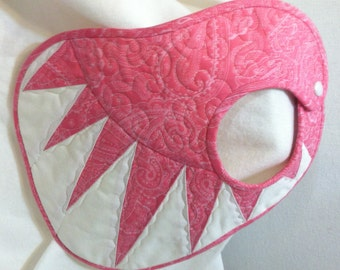 Quilted Baby Bib Pink Paisley and White New York Beauty Quiltsy Handmade
