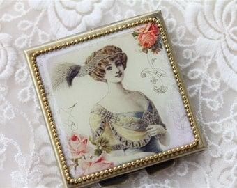 Lady06- Whimsical Retro Women - Fashion Vintage Women - Victorian Women - Pill Case - Pillbox- pil box-Compact Mirror-Trinket Box