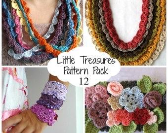 Crochet PDF Pattern Discount Pack - 12 PDF Patterns,crocheted bohemian necklaces, crocheted cuffs, bracelets, wrist warmers, boho bracelet