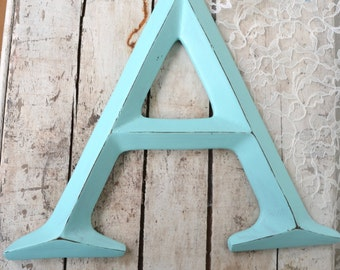"12""  Letter A wall art decor  initial Wedding newlywed Home Decor Aqua  Turquoise PICK ANY LETTER"
