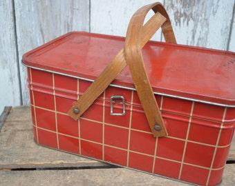 Vintage 1950s  Red gingham Picnic Basket Tin Wood Handles Hinged Lunchbox