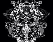 Thinkblot tshirts - symmetrical collage psychedelic inkblot