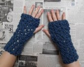 Chunky Crocheted Wristwarmers - Denim Blue