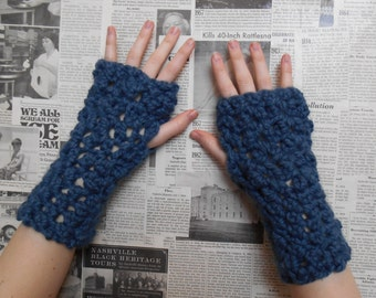 Chunky Crocheted Wristwarmers - Denim Blue