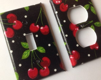 Cherries Single Light Switch Plate Set Pin Up Decor Kitchen Decor Cherry Kitchen