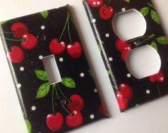 Cherries Single Light Switch Plate Set/ Pin Up Decor/ Kitchen Decor/ Cherry  Kitchen