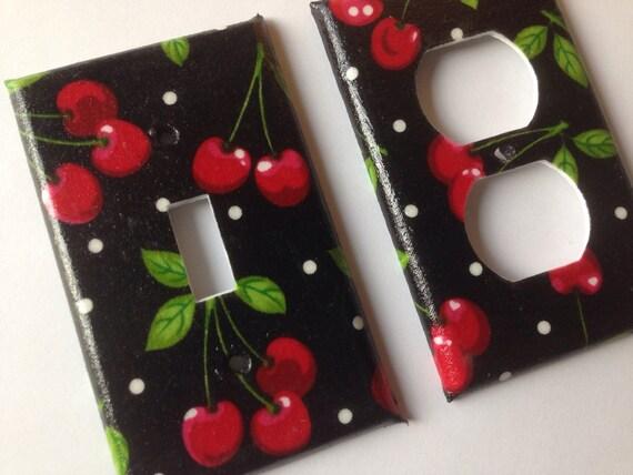 Cherries Single Light Switch Plate Set/ Pin Up Decor/ Kitchen Decor/ Cherry Kitchen Decor / Cherries and Polka Dots / Retro Kitchen Decor