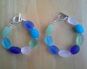 Cultured Sea Glass Bracelets, blue sea glass, green sea glass, teal sea glass, clear sea glass,  Maineteam