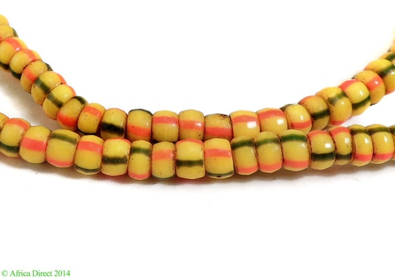 Gred yellow red striped seed bead